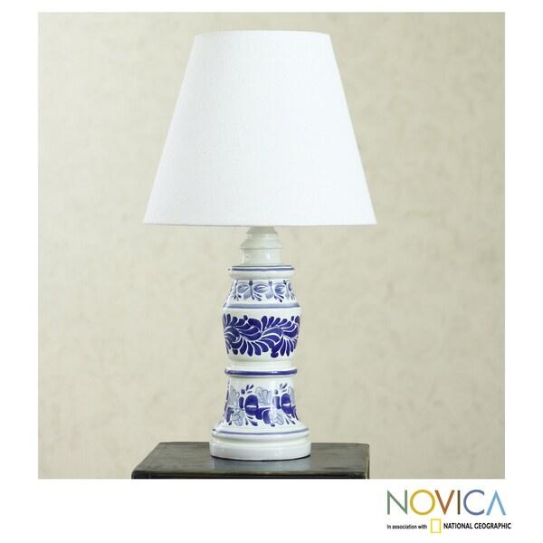 Handmade Ceramic 'Pride of Puebla' Majolica Table Lamp (Mexico)