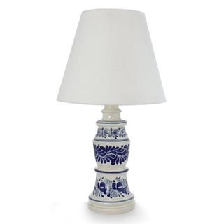 Handcrafted Ceramic 'Pride of Puebla' Majolica Table Lamp (Mexico)