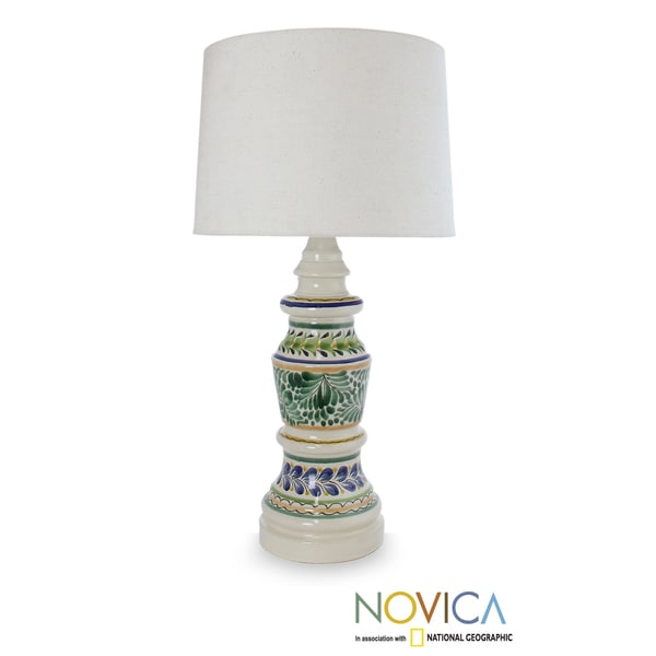 Handcrafted Ceramic 'Chapultepec Forest' Majolica Table Lamp (Mexico)