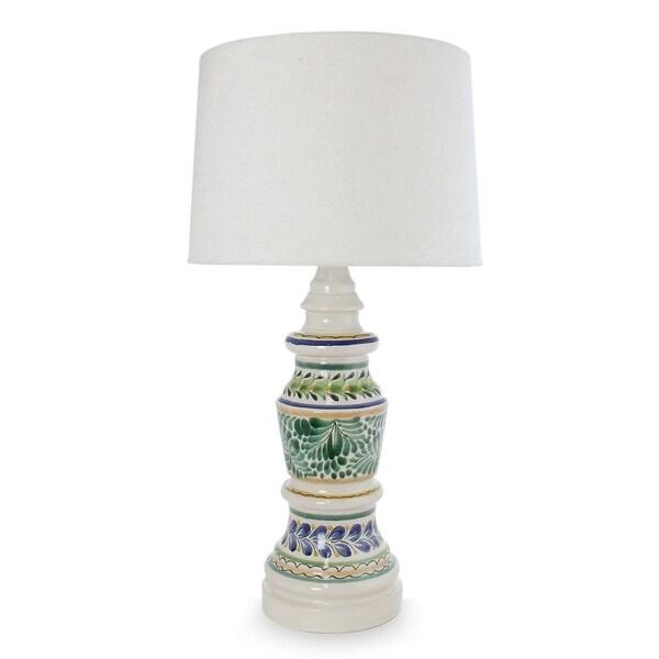 Handmade Ceramic 'Chapultepec Forest' Majolica Table Lamp (Mexico)
