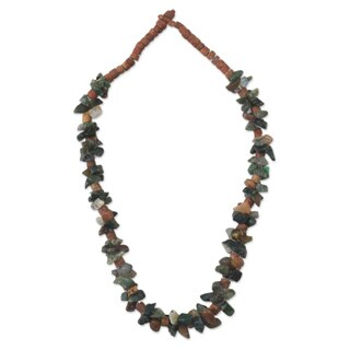 Handcrafted Agate and Bauxite 'Wisdom Knot' Necklace (Ghana)