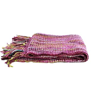 Handmade Acrylic 'Joyous Amethyst' Throw (India)