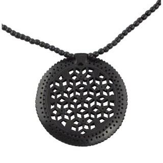 Handmade Ebony Wood 'Mughal Enchantress Medallion' Necklace (India)