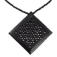 Handmade Ebony Wood 'Mughal Enchantress Diamond' Necklace (India)