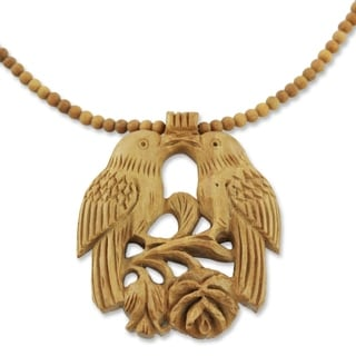 Handcrafted Kadam Wood 'Courtship' Necklace (India)