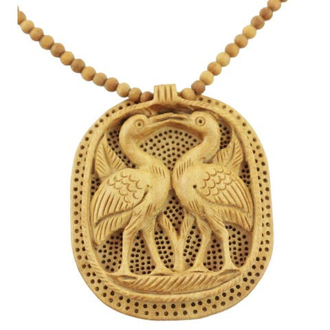 Handmade Kadam Wood 'Swan Kiss' Necklace (India)