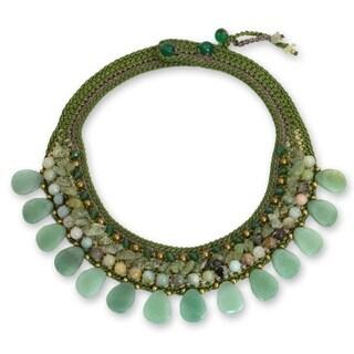 Polyester 'Lotus Circles' Multi-gemstone Necklace (Thailand)