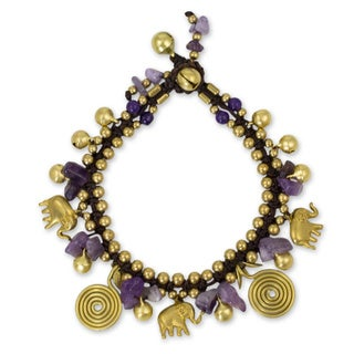 Brass 'Splendor of Siam' Amethyst Quartz Bracelet (Thailand)