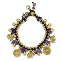 Handmade Brass 'Splendor of Siam' Amethyst Quartz Bracelet (Thailand)