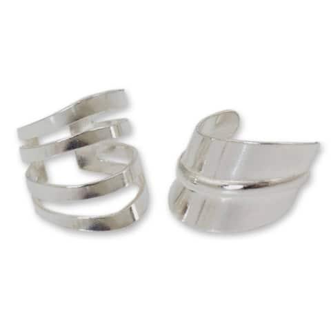 NOVICA Handmade Sterling Silver 'Modern Day' Ear Cuff Earrings (Thailand)