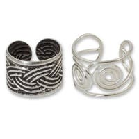 Handmade Sterling Silver 'Contrasts' Ear Cuff Earrings (Thailand)