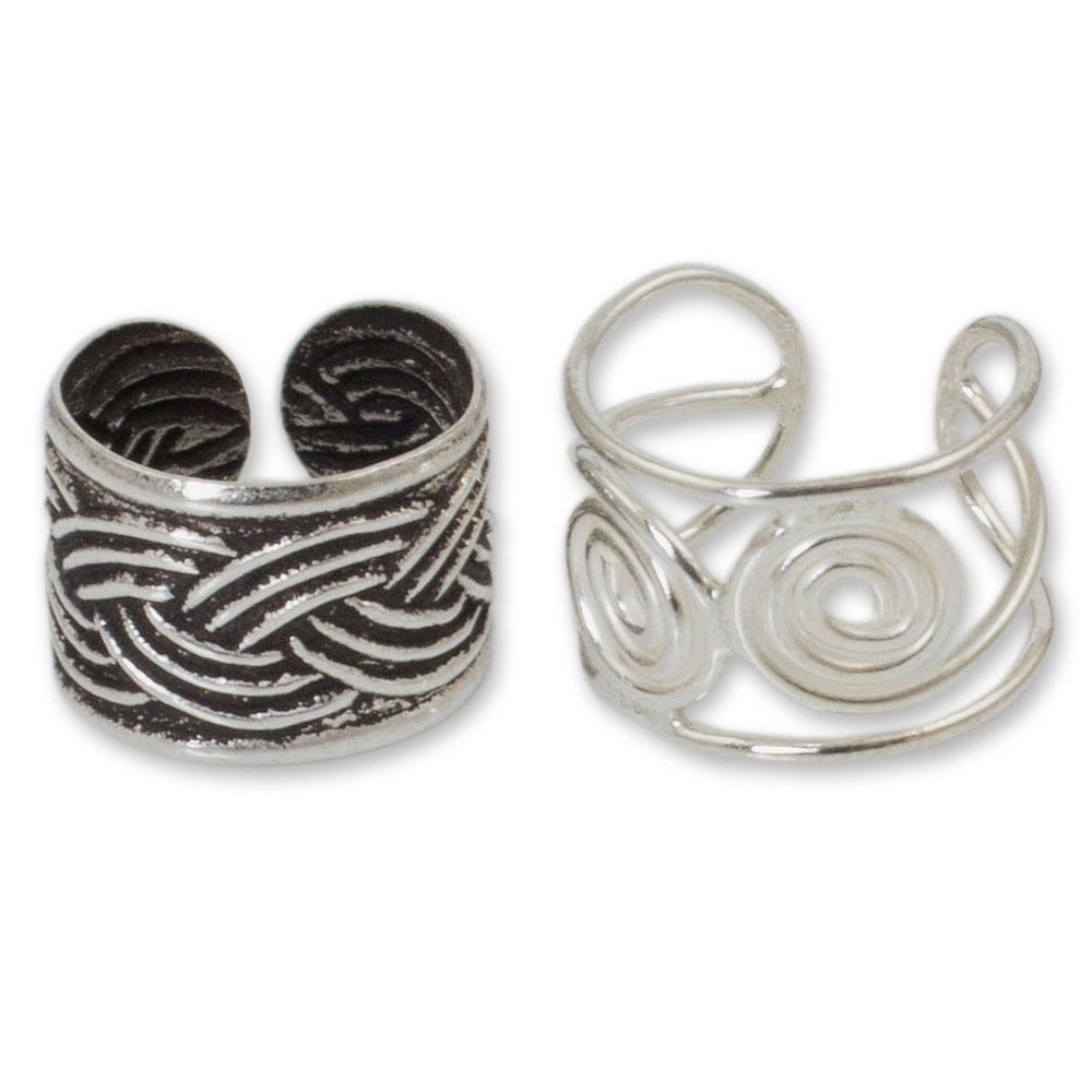 NOVICA Handmade Sterling Silver 'Contrasts' Ear Cuff Earrings (Thailand). Opens flyout.