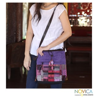 Cotton Hemp 'Purple Chonburi' Medium Shoulder Bag (Thailand)