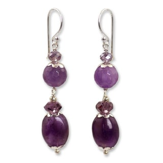 Sterling Silver 'Beauteous Iris' Amethyst Earrings (Thailand)