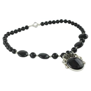 Sterling Silver 'Mystic Bloom' Onyx Necklace (India)
