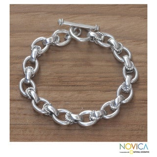 Handmade Brave Lady Artisan Designer Clothing Accessory Vintage Style Sterling Silver Chain Jewelry Bracelet (Indonesia)