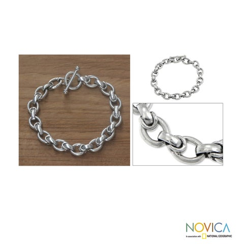 Handmade Brave Knight Modern Masculine Polished Links with Toggle Closure Mens 925 Sterling Silver Link Bracelet (Indonesia)