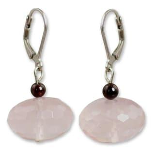 Silver 'Rose of Thailand' Rose Quartz Garnet Earrings (Thailand)