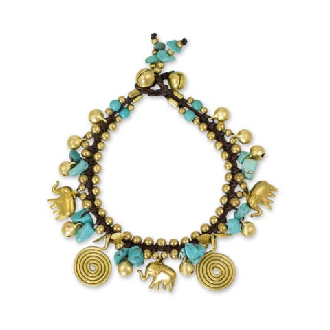 Handmade Brass 'Siam Elephants' Calcite Bracelet (Thailand)