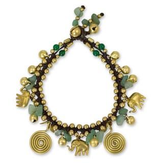 Handmade Brass 'Splendor of Siam' Aventurine Quartz Bracelet (Thailand)