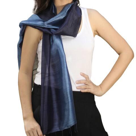 NOVICA Handmade Silk Bluebell Duality Scarf (Thailand)
