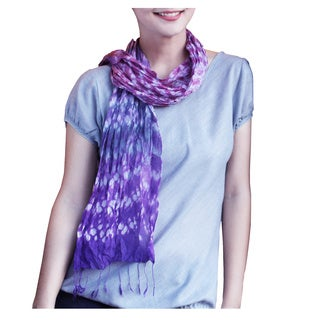 Handcrafted Rayon Silk 'Fabulous Amethyst' Tie-dyed Scarf (Thailand)