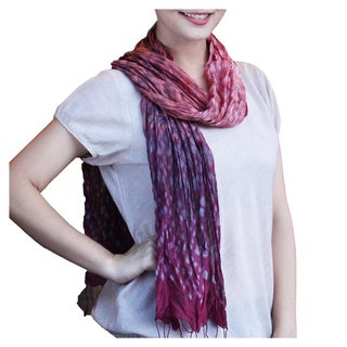 Handmade Rayon Silk Blend 'Fabulous Wine' Tie-dyed Scarf (Thailand)