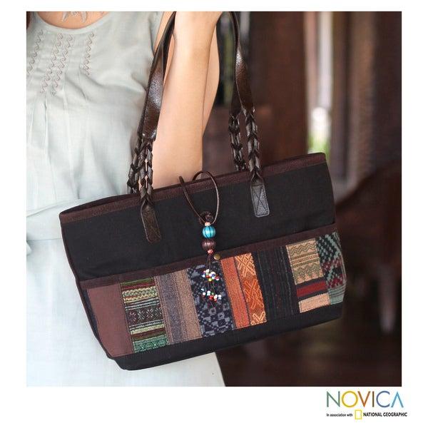Cotton Leather Accent 'Thai Ebony' Medium Shoulder Bag (Thailand)