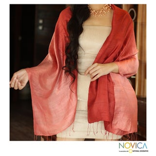Handcrafted Silk 'Shimmering Coral' Shawl (Thailand)