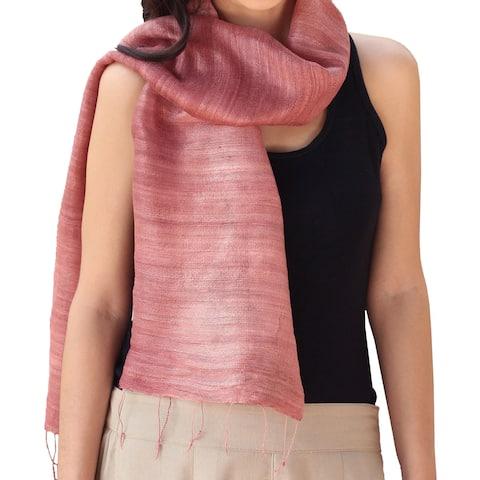 NOVICA Handmade Silk 'Bold Rose' Scarf (Thailand)