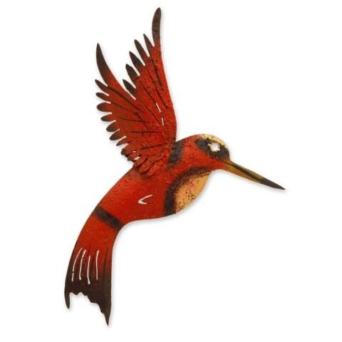 Handmade Iron 'Little Ruby Hummingbird' Wall Sculpture (Mexico)