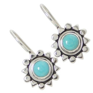 Handmade Sterling Silver Earrings 'Aztec Star' Turquoise Earrings (Mexico)