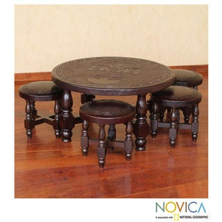 Inca Legend Brown Tooled Leather and Cedar Wood Living or Family Room Four Nesting Stools with Table Furniture Set (Peru)