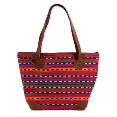 Handmade Leather Accent Cotton 'Scarlet Maya' Large Shoulder Bag (Guatemala)