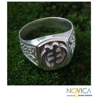 Handcrafted Men's Sterling Silver 'God Is Supreme' Ring (Ghana)