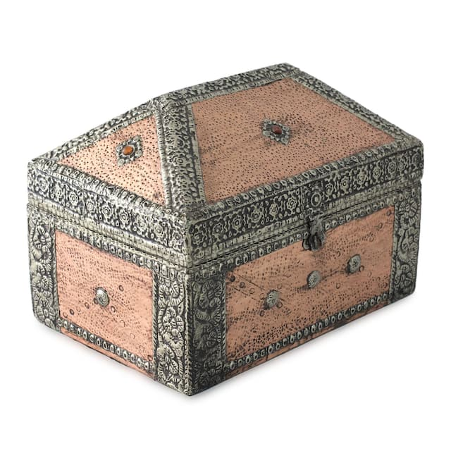 Mango Wood and Nickel-plated Brass 'Palatial' Jewelry Box