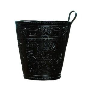 Handmade Leather 'Warrior Guard' Waste Basket (Peru)