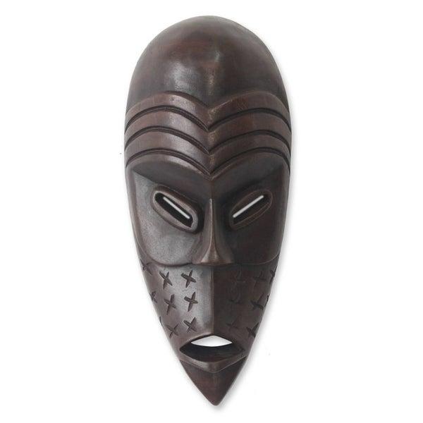 Handmade Congo Warrior Sese Wood Mask (Ghana)