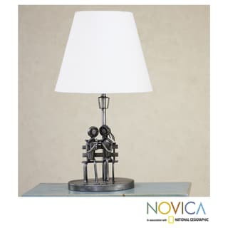 Handcrafted Recycled Metal 'A Rose of Love' Table Lamp (Mexico)