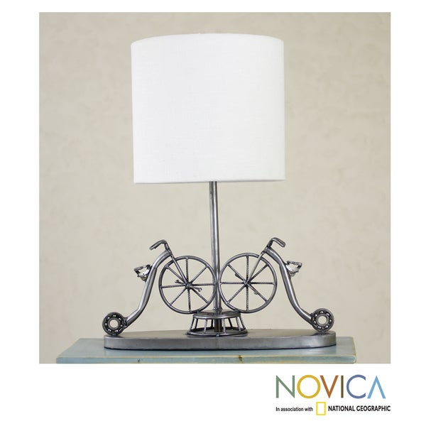 Handmade Recycled Metal 'Rustic Vintage Bicycles' Table Lamp (Mexico)