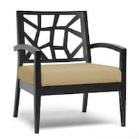 Baxton Studio Jennifer Black Wood and Khaki Fabric Modern Lounge Chair