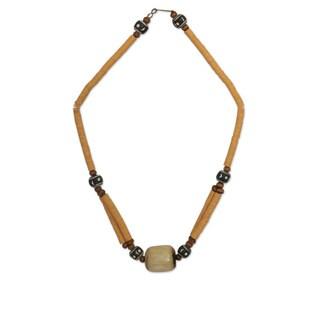 Handcrafted Bone 'Yellow Laafi' Terracotta Beaded Necklace (Ghana)