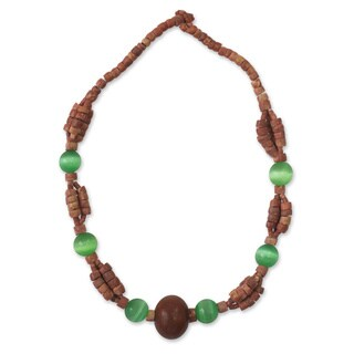 Handcrafted Bauxite 'Adom' Horn Necklace (Ghana)