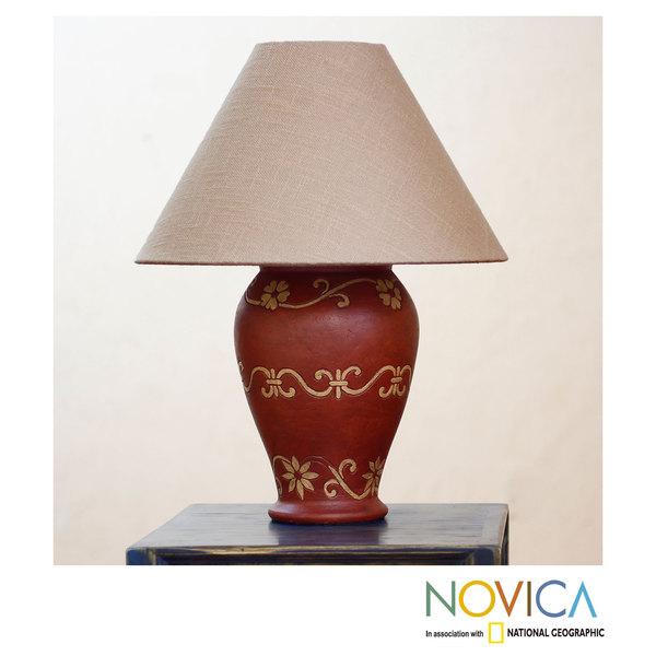 Handmade Ceramic 'Pomegranate Blooms' Lamp (Mexico)