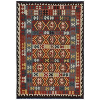 Herat Oriental Afghan Hand-woven Kilim Red/ Yellow Wool Rug (5'5 x 8'2)