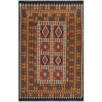 Handmade Herat Oriental Afghan Wool Kilim  - 6' x 9' (Afghanistan)