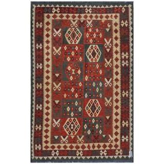 Herat Oriental Afghan Hand-woven Kilim Rust/ Beige Wool Rug (5'10 x 9')