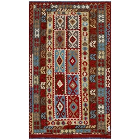 Handmade Herat Oriental Afghan Wool Kilim - 7'7 x 10'10 (Afghanistan)
