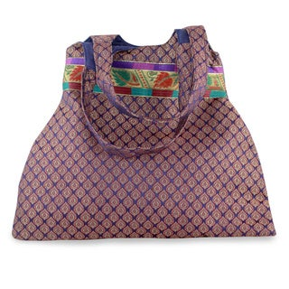 Handcrafted Polyester 'Rajasthan Purple' Large Shoulder Bag (India)