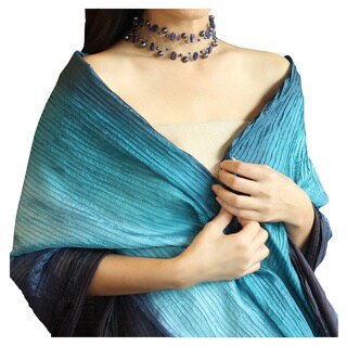 Handmade Rayon and Silk 'Teal Transition' Scarf (Thailand)